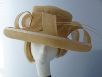 Caroline Hickman Wedding hat Caramel Biscuit